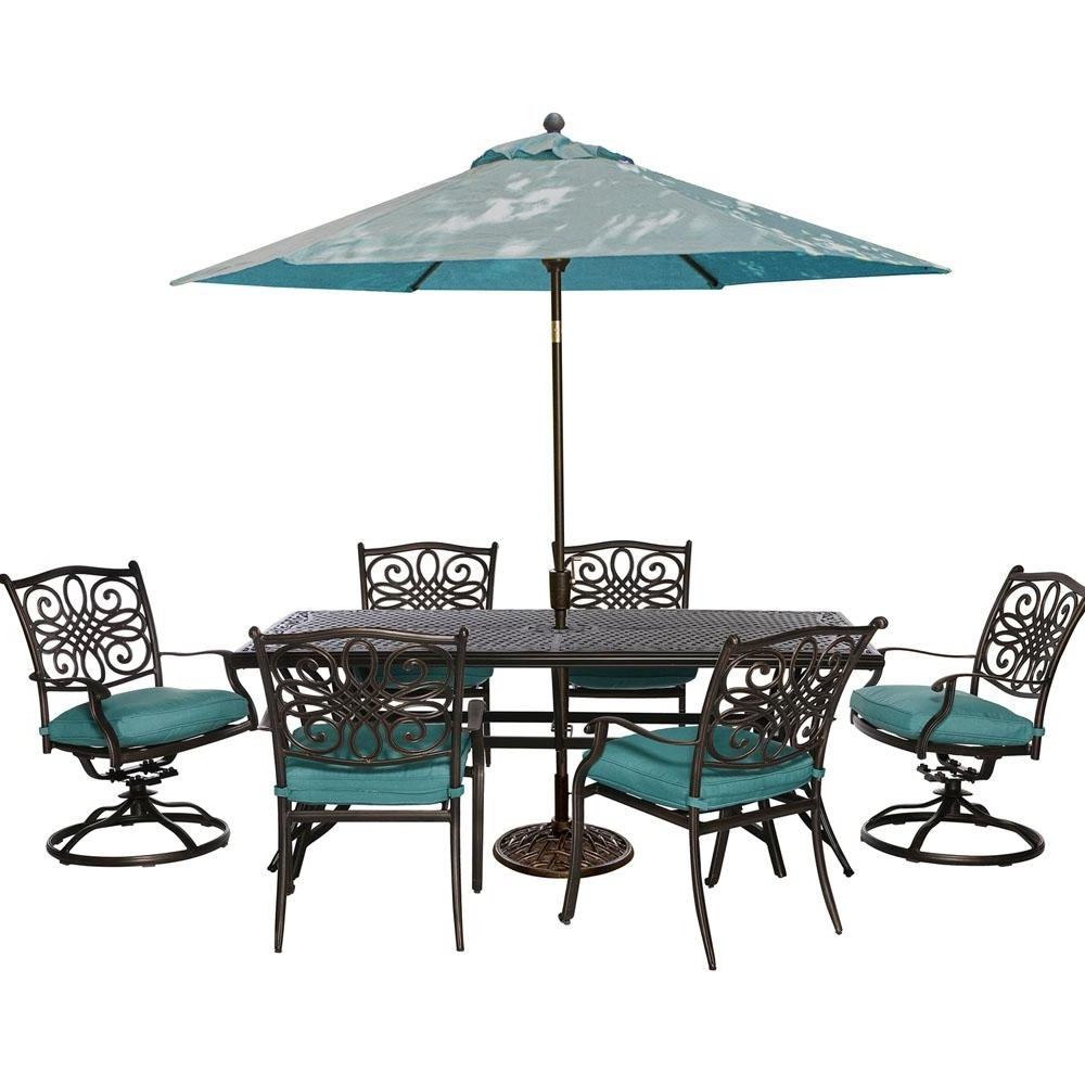 Patio Table And Chairs With Umbrellas With Most Popular Cambridge Seasons 7 Piece Patio Outdoor Dining Set With Blue (View 10 of 20)