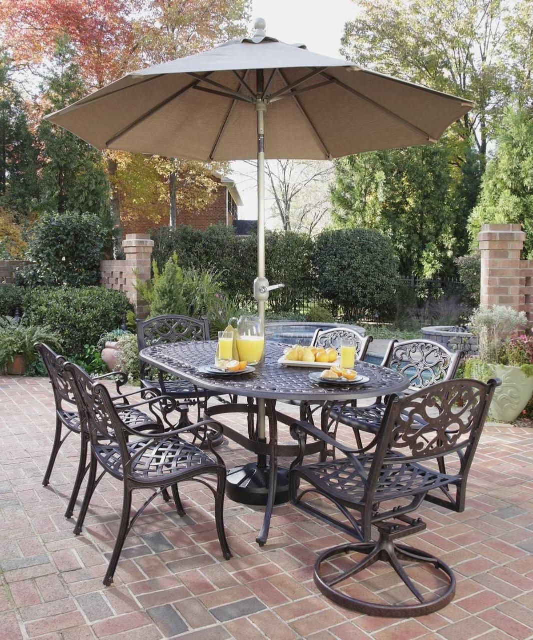 Patio Table And Chairs With Umbrellas With Regard To Trendy Fascinating Patio Table Sets With Umbrella Trends Including Cheap (Gallery 8 of 20)