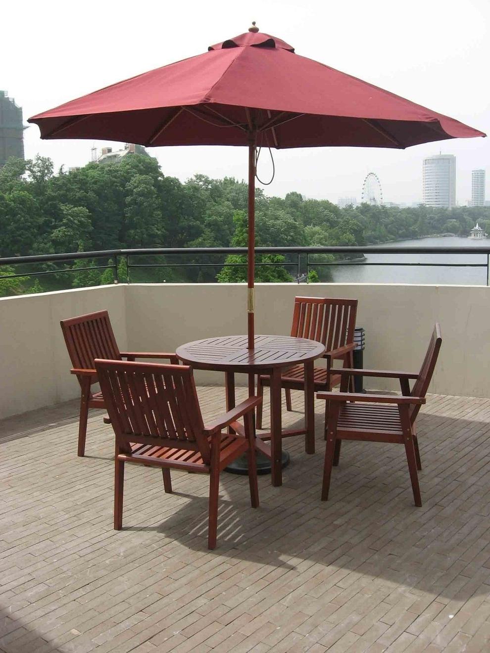 Patio Tables With Umbrellas Regarding Trendy Patio Outdooratio Table Chairs And Umbrellas Umbrella Set Restaurant (View 18 of 20)