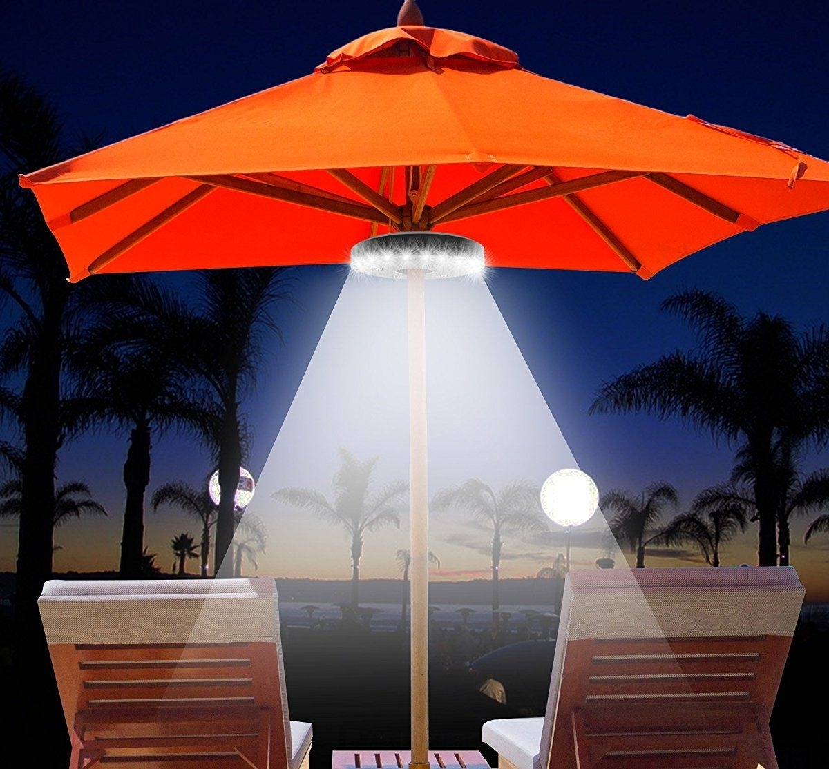 Patio Umbrella Lights Within Well Known Qpau Patio Umbrella Light, 3 Lighting Modes Cordless 28 Led Lights (View 18 of 20)