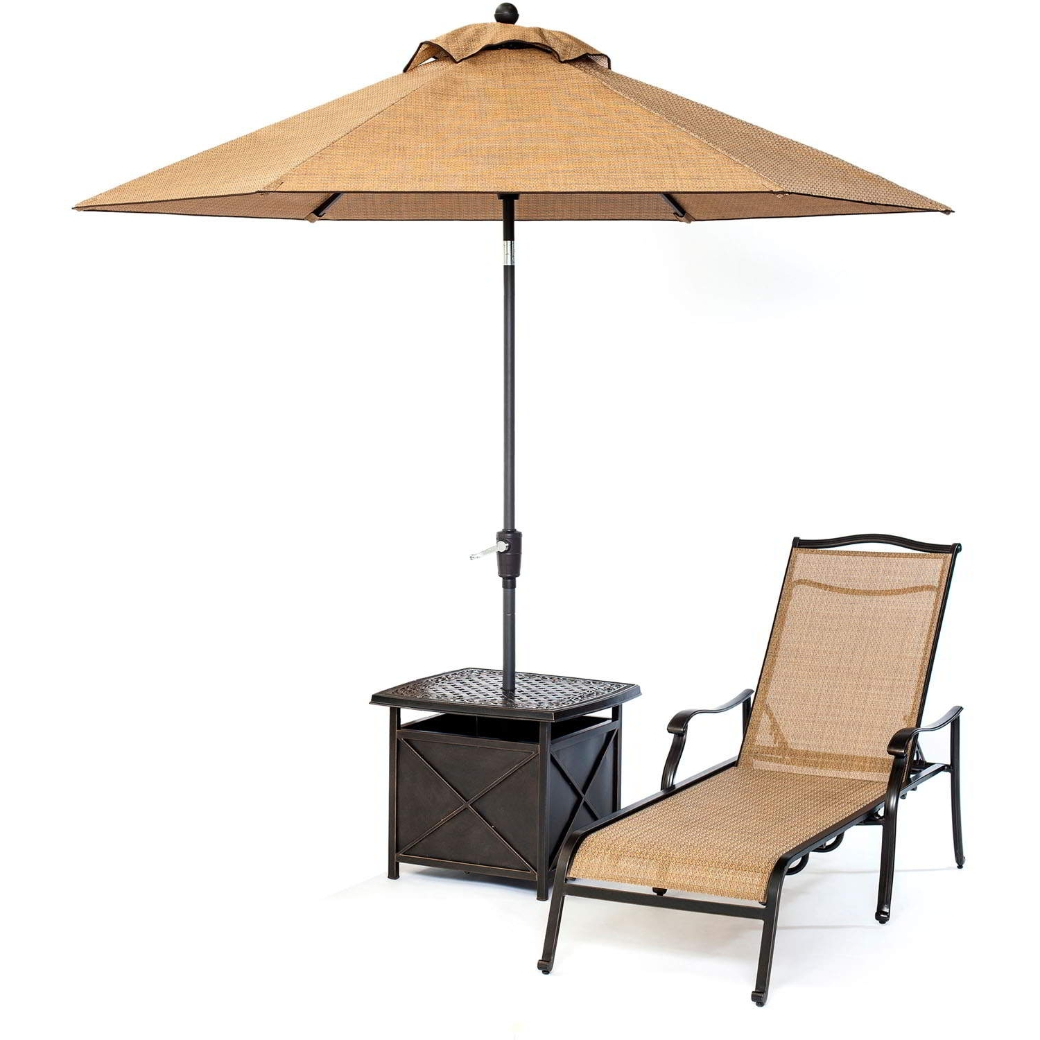 Patio Umbrella Side Tables Throughout Recent Monaco Chaise Lounge Chair With Side Table And Umbrella Zero Gravity (Gallery 12 of 20)