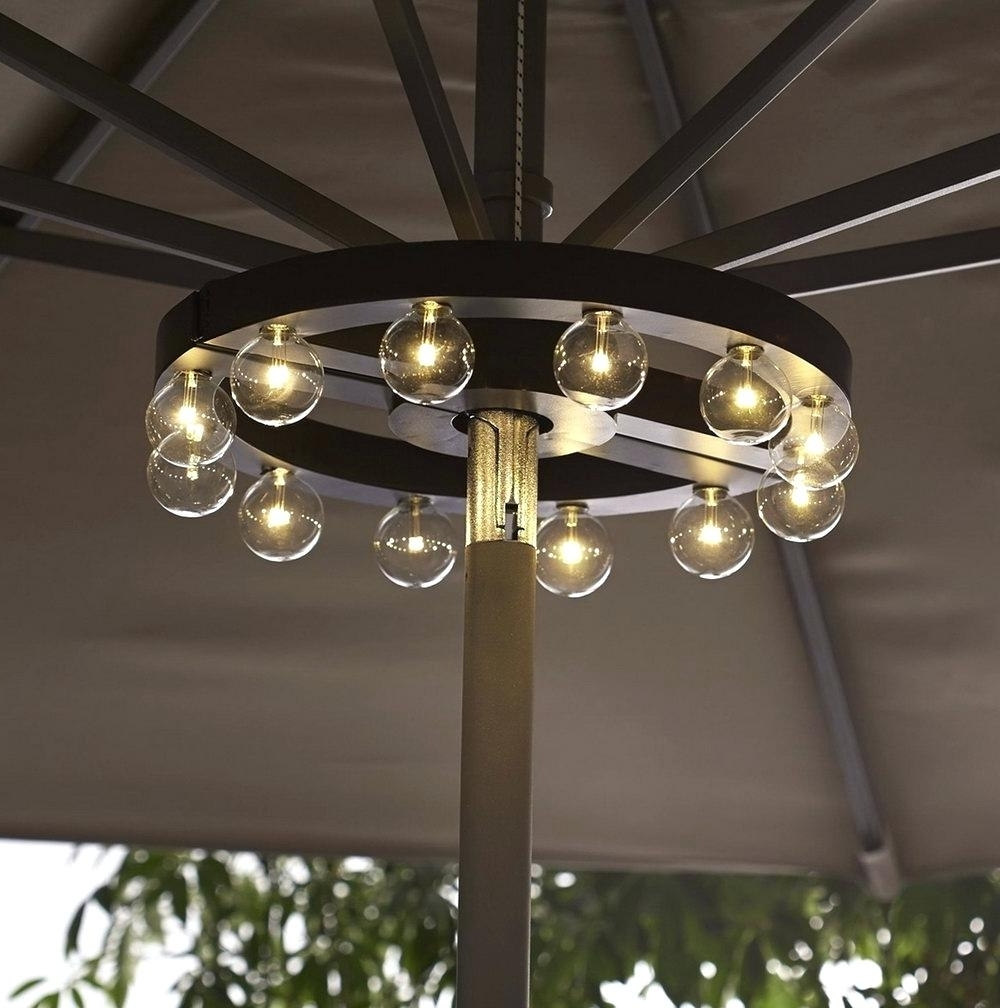 Patio Umbrella Solar Lights Fset Offset Home Depot Led With Regard To Well Known Solar Lights For Patio Umbrellas (View 11 of 20)