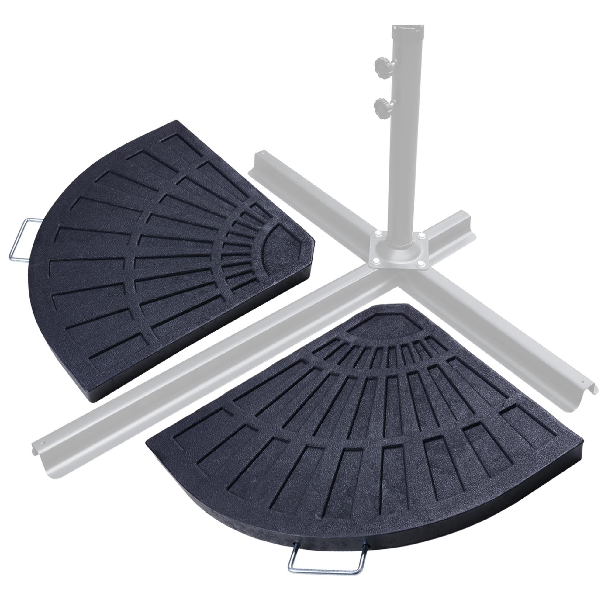 Patio Umbrellas And Bases Pertaining To Popular Patio Outdoor 2 Piece Cantilever Offset Umbrella Base Stand Fan (View 9 of 20)