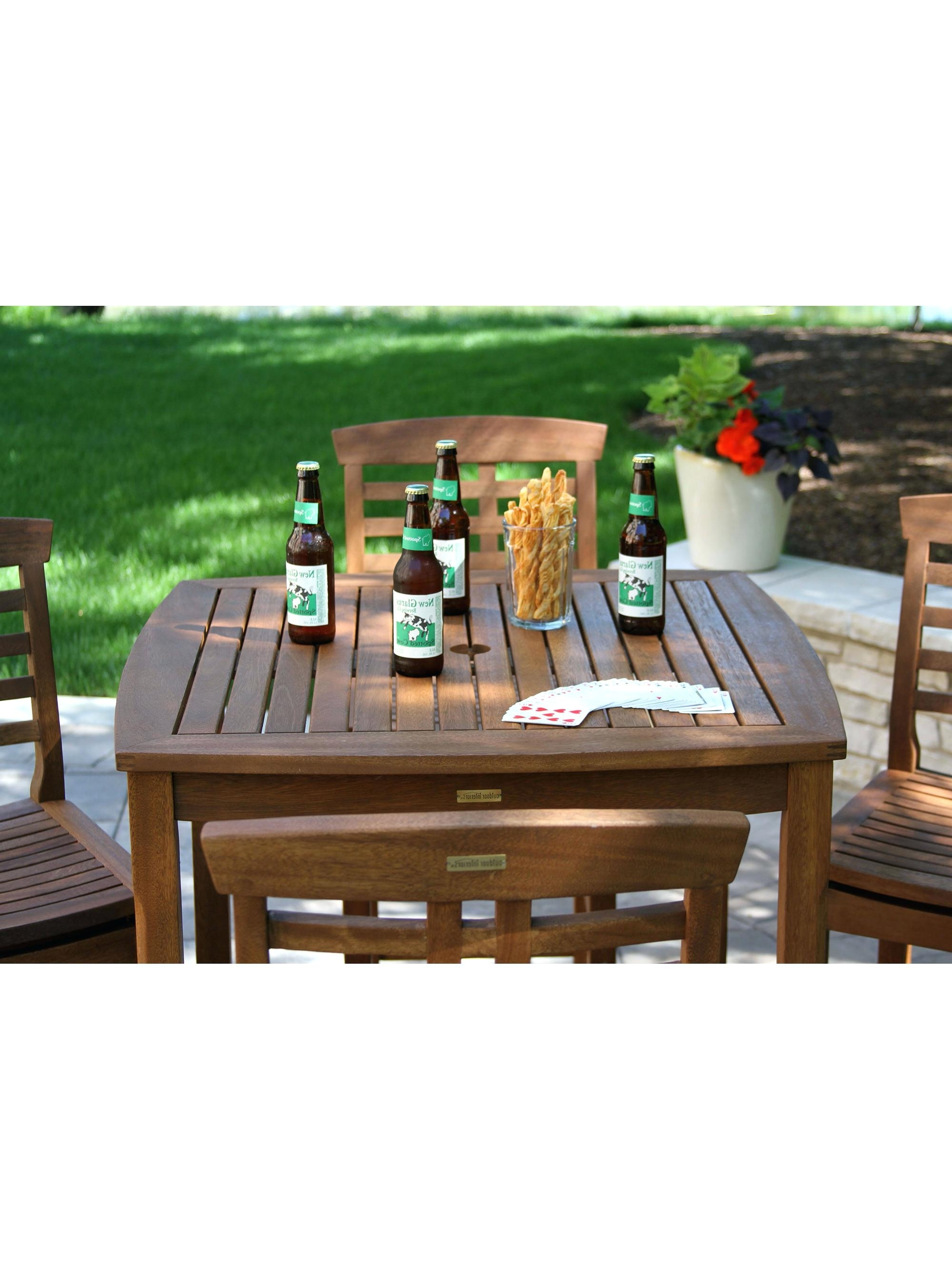 Patio Umbrellas For Bar Height Tables For Well Known Elegant Patio Bar Height Table And Eucalyptus Bar Height Table (View 17 of 20)