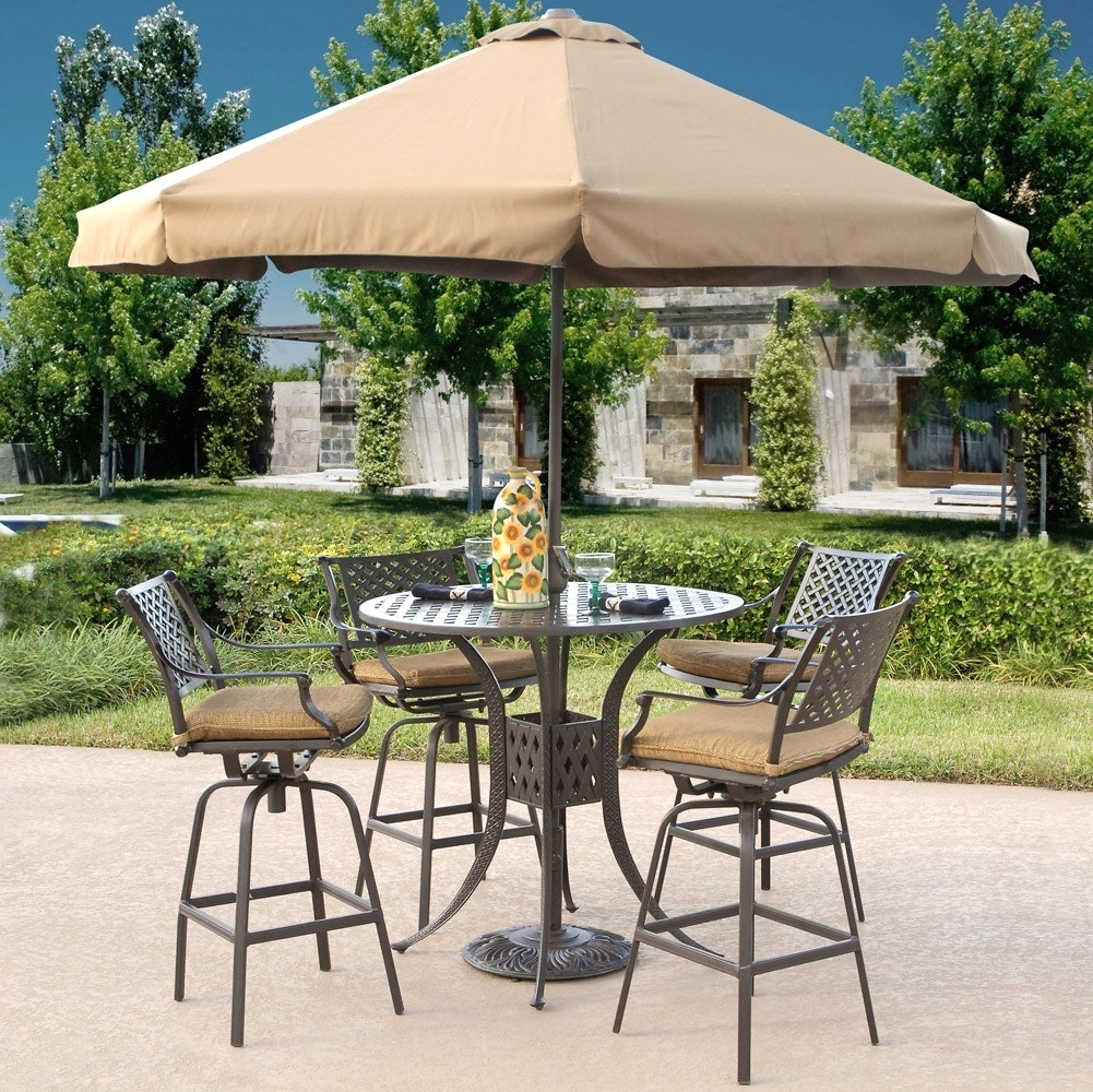 Patio Umbrellas For Bar Height Tables With Regard To Famous Furniture Bar Height Patio Set Sets Clearance With Dining And (View 8 of 20)
