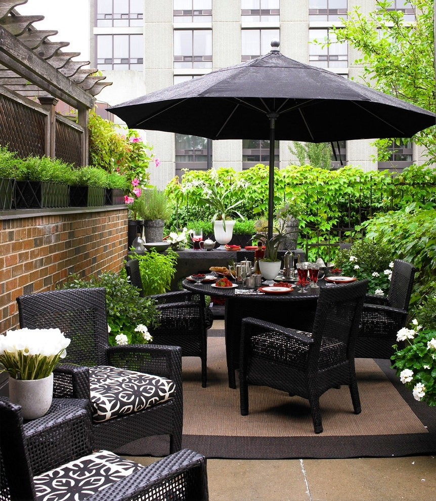 Patio Umbrellas For Small Spaces Inside Favorite Patio: Awesome Patio Furniture For Small Spaces Wayfair Outdoor (View 12 of 20)