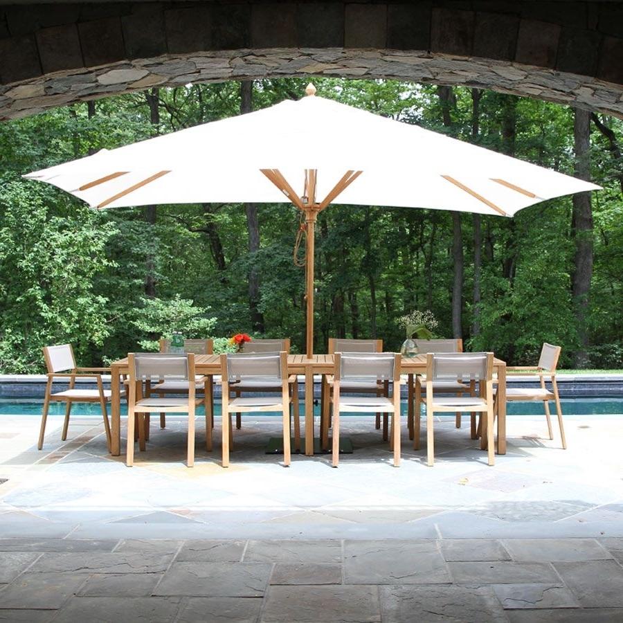Patio Umbrellas For Tables Regarding Trendy Teak Patio Umbrellas – 13.5 X 8 Ft (View 18 of 20)