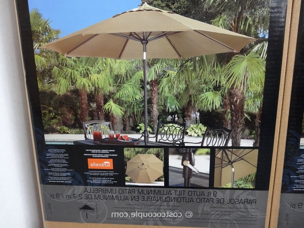 Patio Umbrellas From Costco Intended For Famous 9 Ft Auto Tilt Aluminum Patio Umbrella (View 15 of 20)