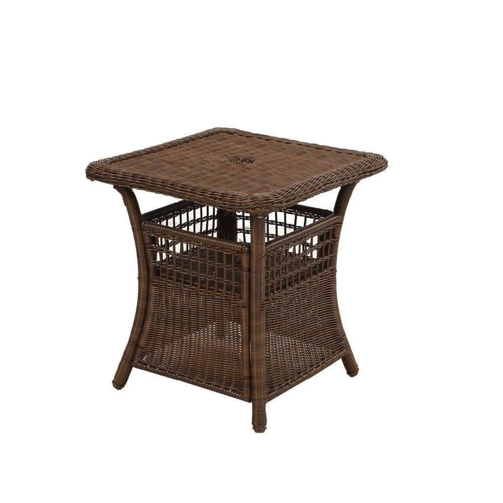 Patio Umbrellas With Accent Table Throughout Preferred Spring Haven Brown All Weather Wicker Patio Umbrella Side Table (Gallery 4 of 20)