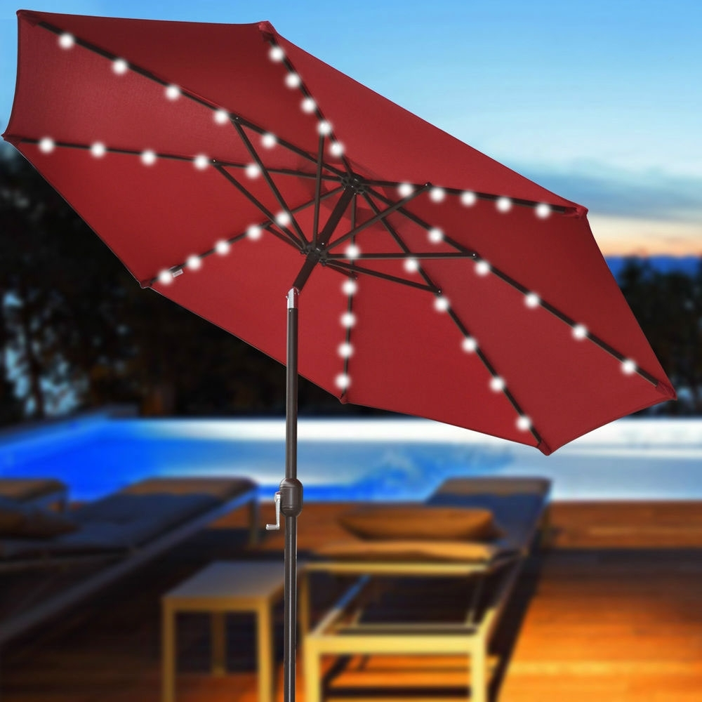 Patio Umbrellas With Led Lights Regarding Current Offset Patio Umbrella With Led Lights The Terrific Real (View 11 of 20)