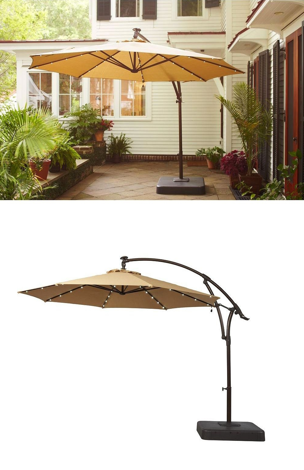 Patio Umbrellas With Led Lights Regarding Fashionable There's Something Special About This Patio Umbrella: It Has Small (Gallery 18 of 20)