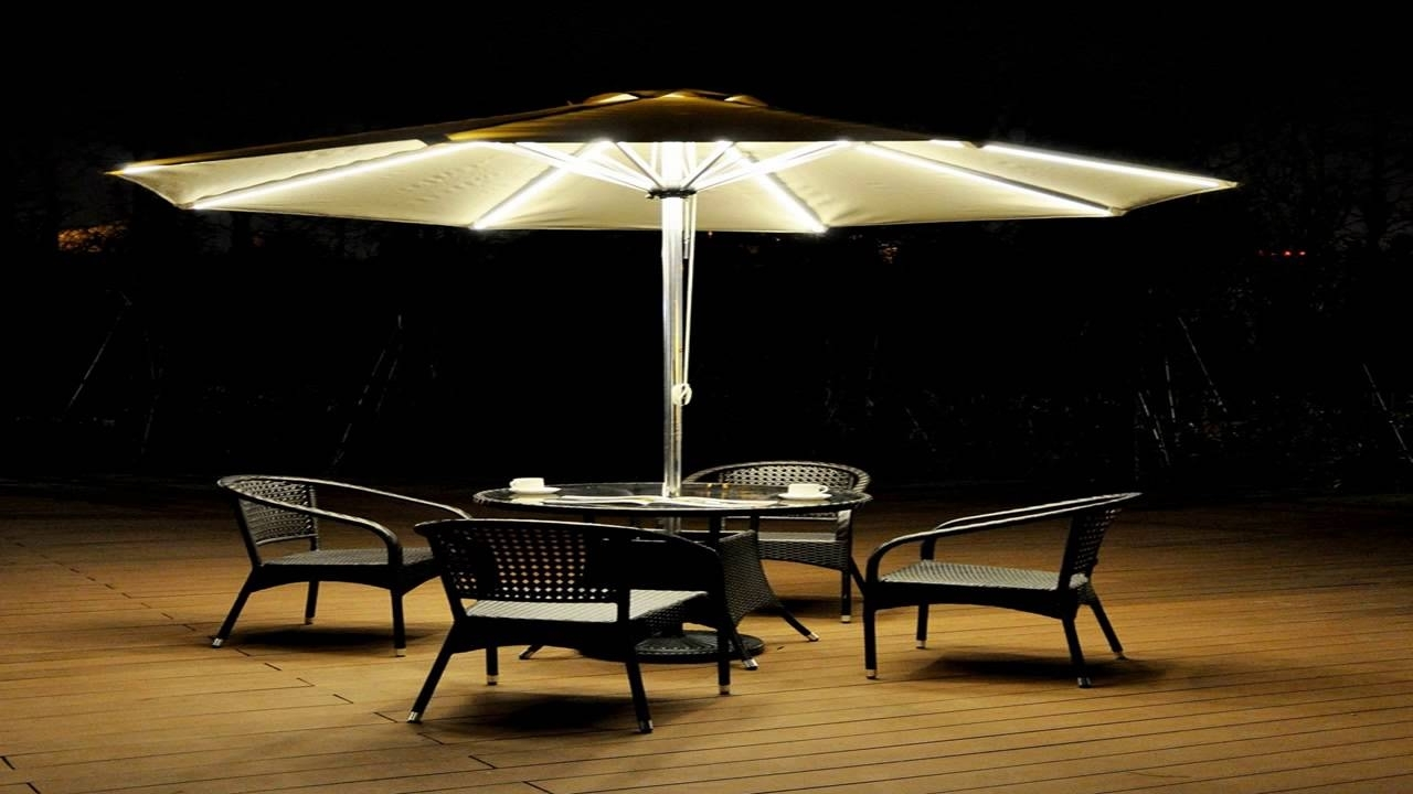 Patio Umbrellas With Lights Pertaining To Famous Strong Camel 9 Cantilever Solar 40 Led Light Patio Umbrella Outdoor (View 5 of 20)