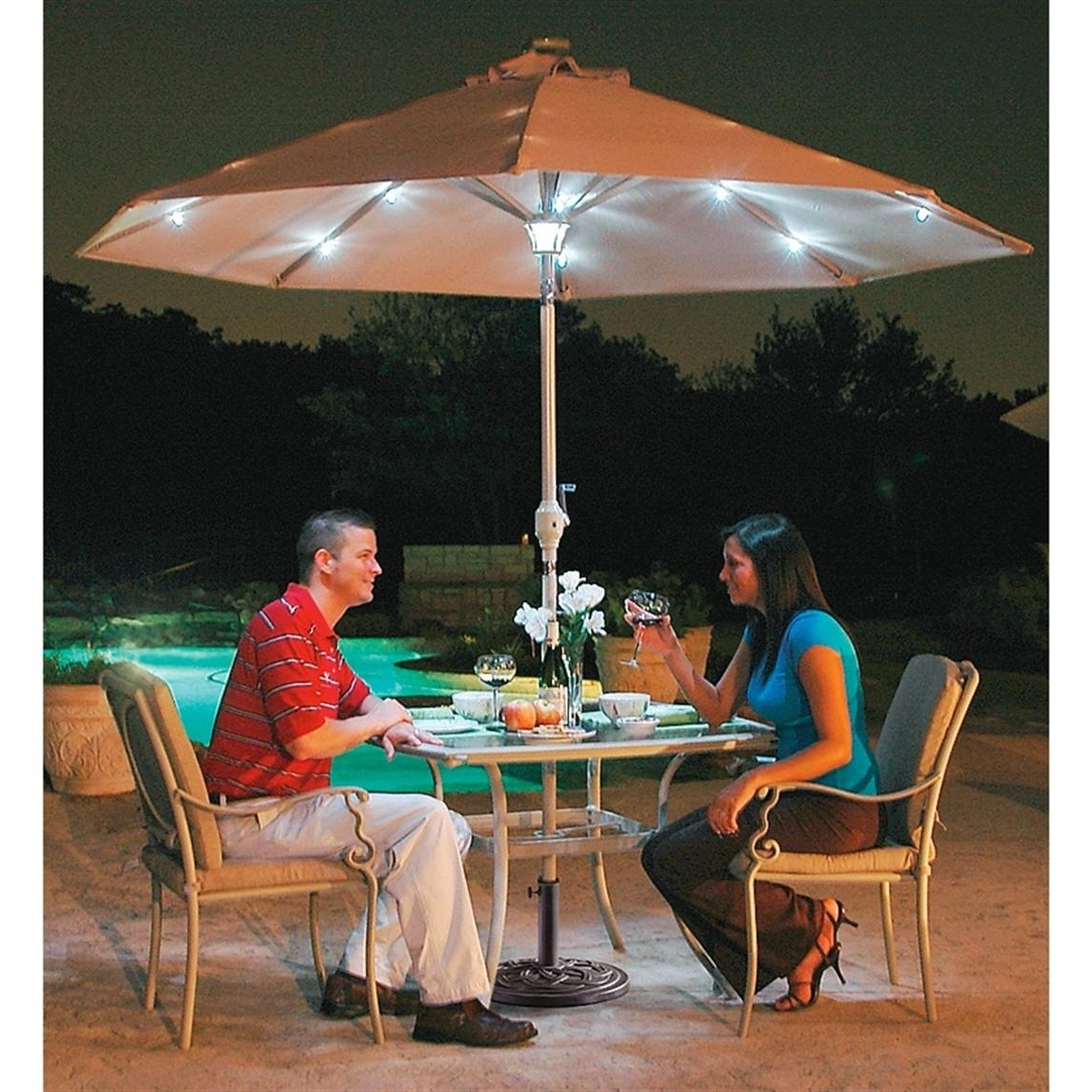 Patio Umbrellas With Solar Lights Design Ideas : Best Photos Of With Regard To Best And Newest Sunbrella Patio Umbrellas With Solar Lights (Gallery 5 of 20)