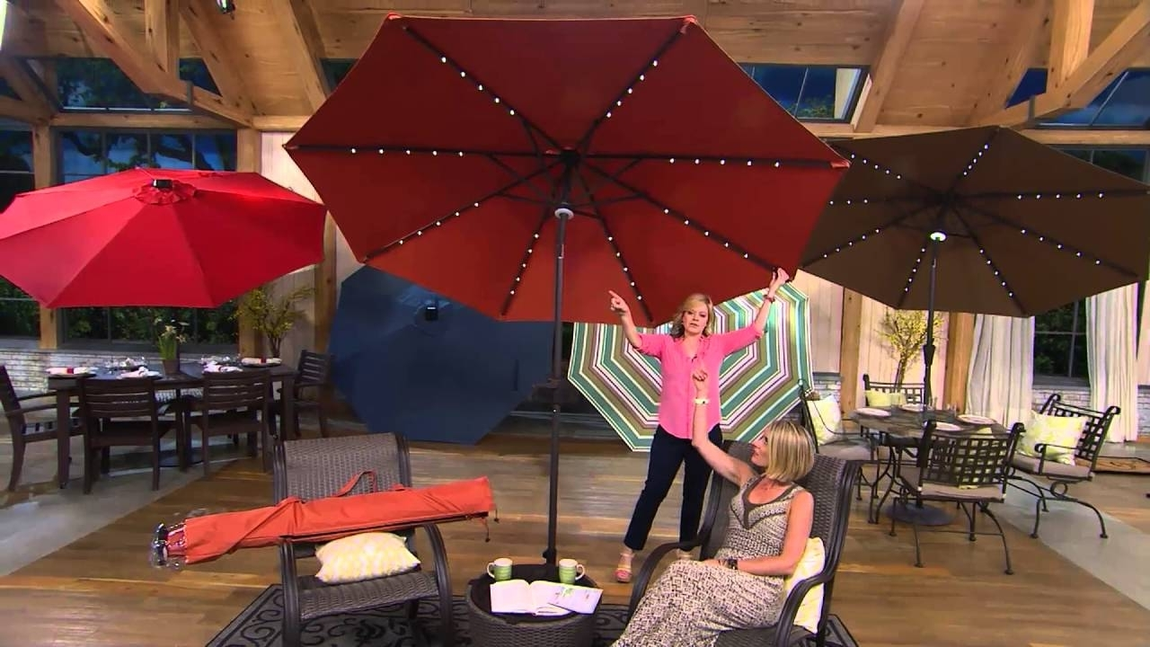 Patio Umbrellas With Solar Lights Throughout Most Current Atleisure 9' Turn 2 Tilt Patio Umbrella W/ 52 Solar Led Lights (View 6 of 20)