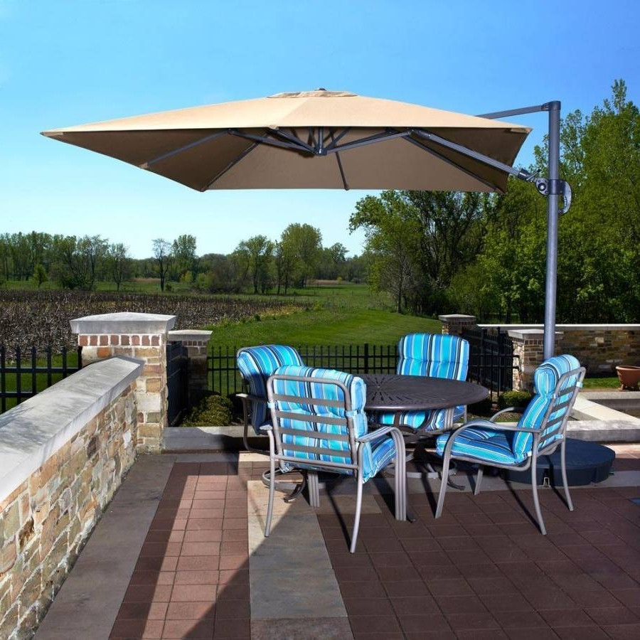Patio Umbrellas With Valance With Well Known Santorini Ii Cantilever Umbrella – Side Post Patio Umbrellas – No (Gallery 12 of 20)