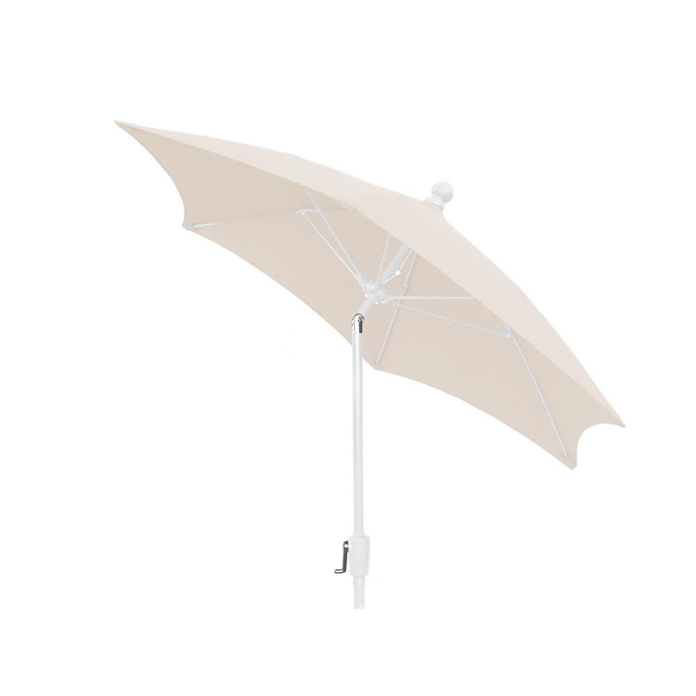 Patio Umbrellas With White Pole Intended For Well Known 7.5 Ft. Patio Umbrella With 2 Piece White Pole Tilted And Natural (Gallery 2 of 20)