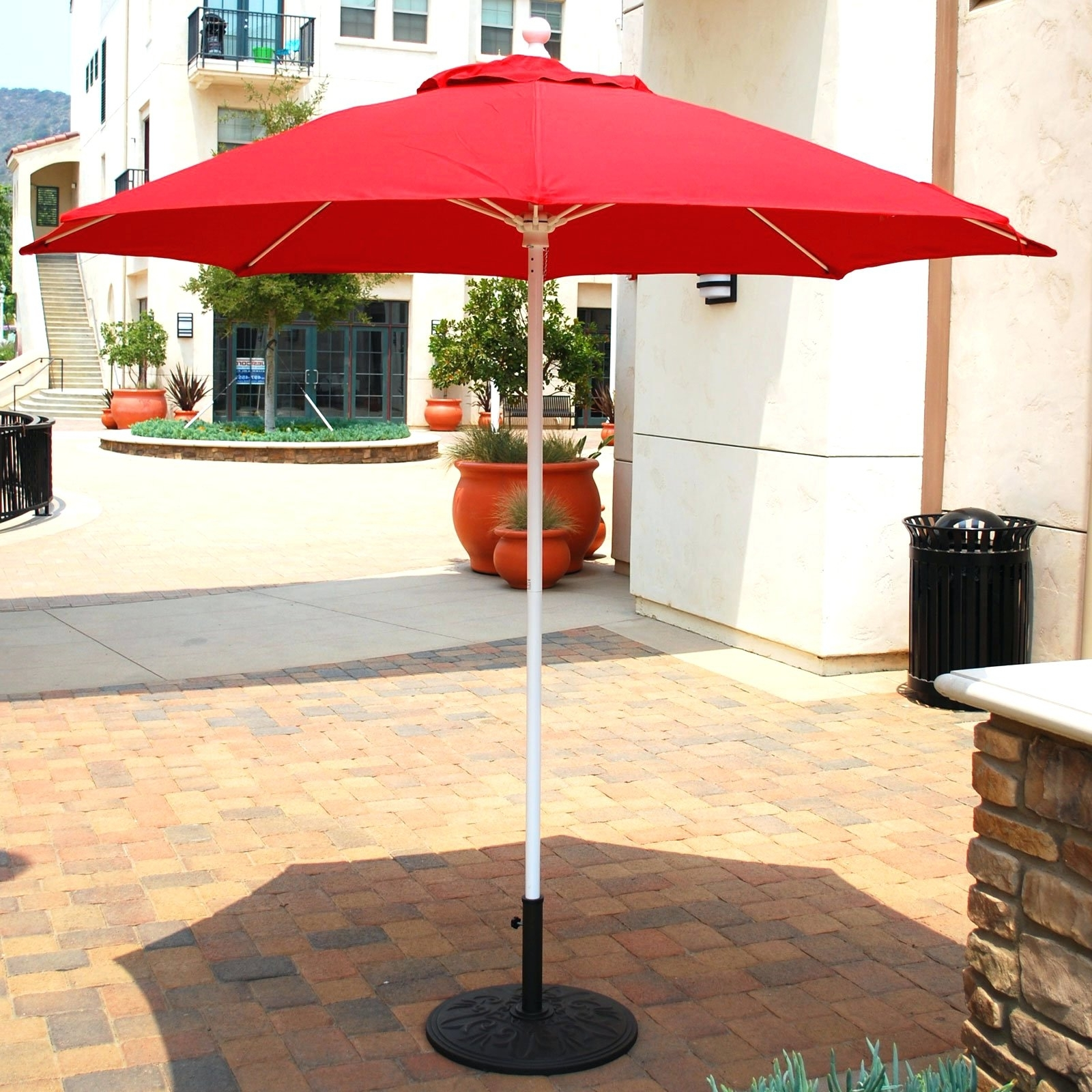 Patio Umbrellas With White Pole With Well Liked Patio Ideas ~ Enchanting Red Square Modern Fabric Big Patio Umbrella (View 17 of 20)