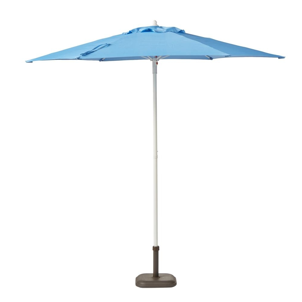 Patio Umbrellas With White Pole Within Widely Used Hampton Bay 7.5 Ft. Steel Patio Umbrella In Periwinkle With White (Gallery 13 of 20)