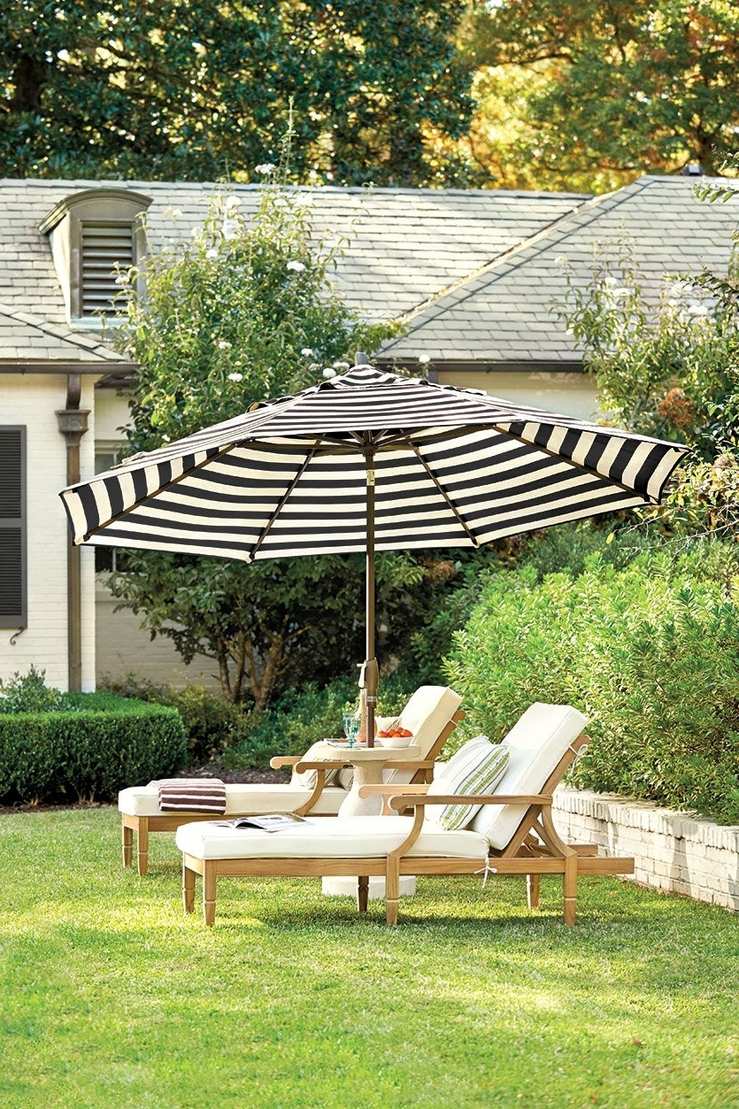 Featured Photo of Black and White Striped Patio Umbrellas