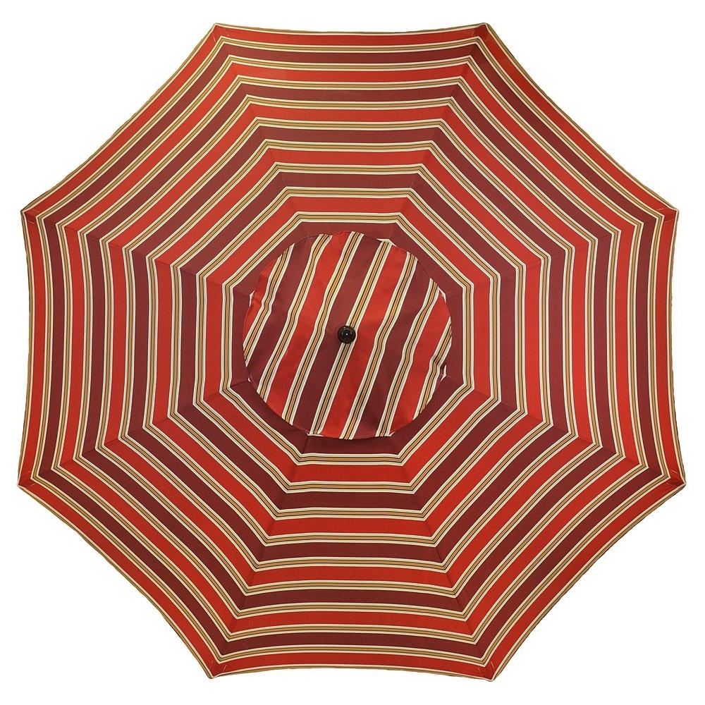 Patterned Patio Umbrellas In Preferred Plantation Patterns 11 Ft. Aluminum Patio Umbrella In Chili Stripe (Gallery 3 of 20)