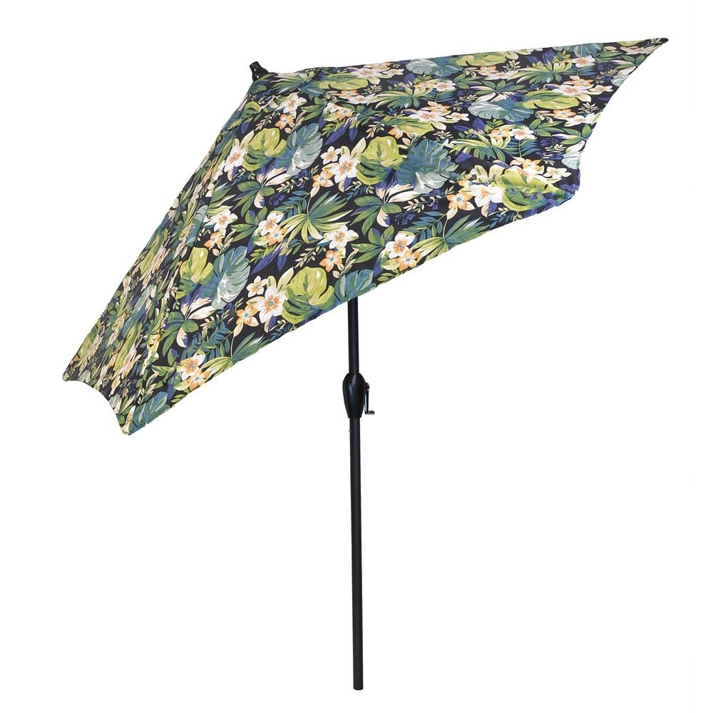 Patterned Patio Umbrellas Pertaining To 2019 Plantation Patterns 9 Ft. Aluminum Patio Umbrella In Caprice (Gallery 1 of 20)