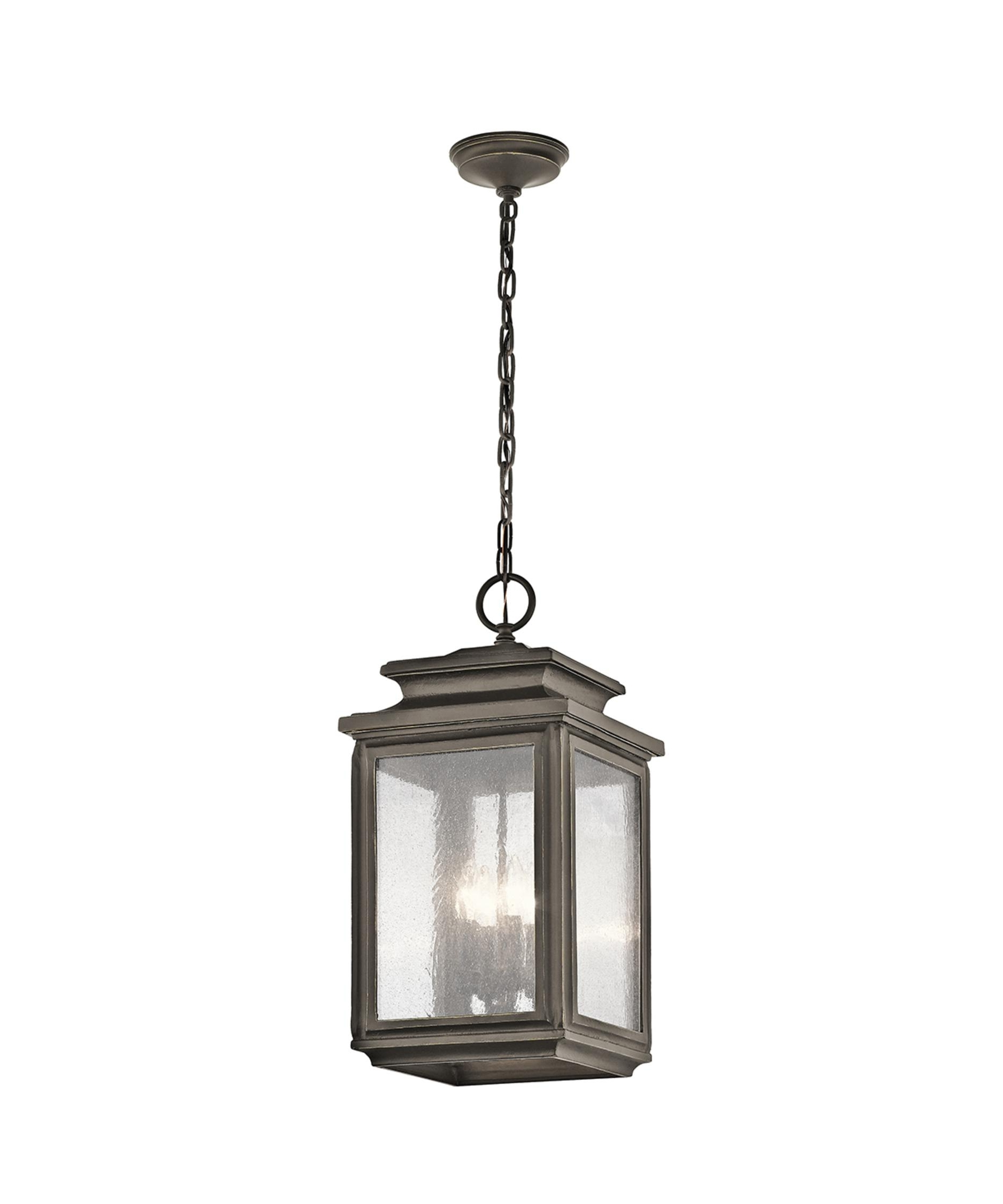 Plug In Outdoor Lanterns In Latest Kichler 49505 Wiscombe Park 11 Inch Wide 4 Light Outdoor Hanging (View 11 of 20)