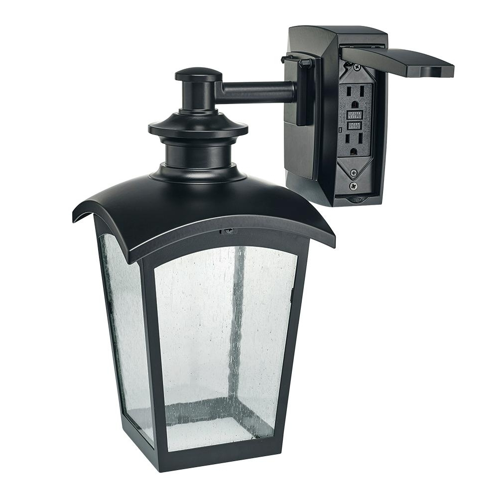 Plug In Outdoor Lanterns Pertaining To Most Recent Hampton Bay Die Cast Exterior Lantern With Gfci Black Md 31343 – The (Gallery 4 of 20)