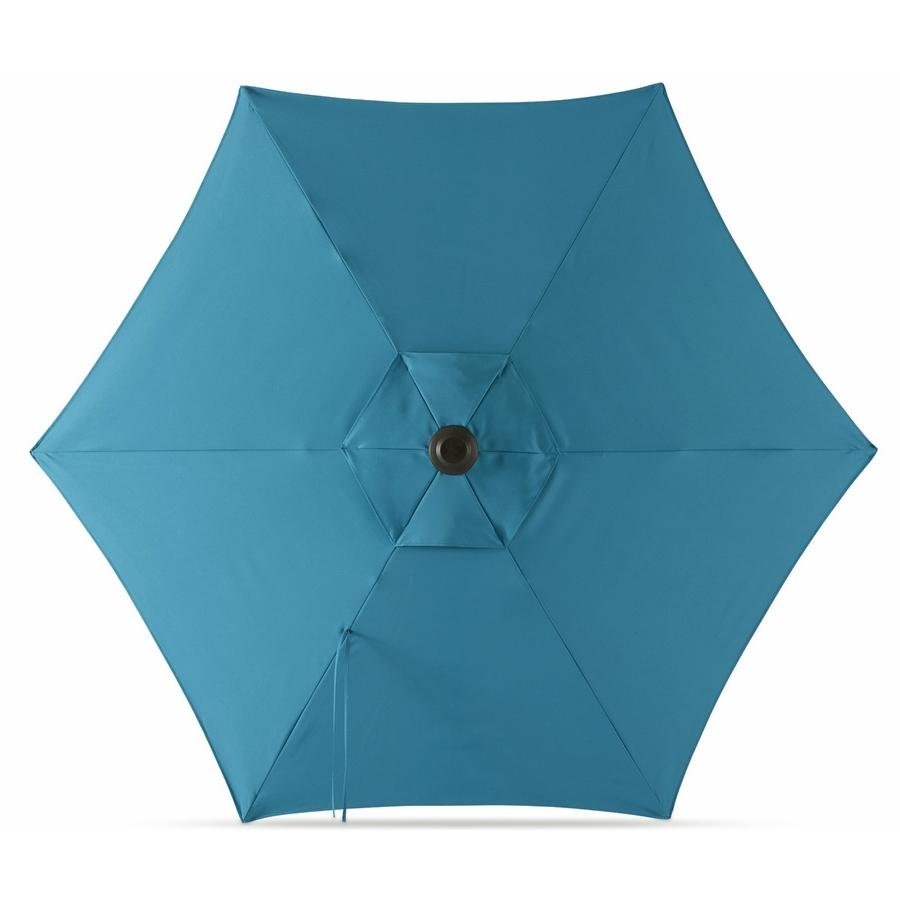 Popular Blue Patio Umbrellas Regarding Shop Garden Treasures Solid Blue Market  (View 14 of 20)