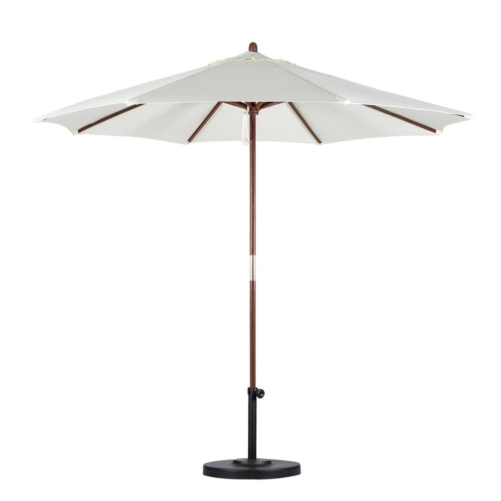Popular California Umbrella 9 Ft. Wood Pulley Open Patio Umbrella In Natural Throughout Wooden Patio Umbrellas (Gallery 13 of 20)