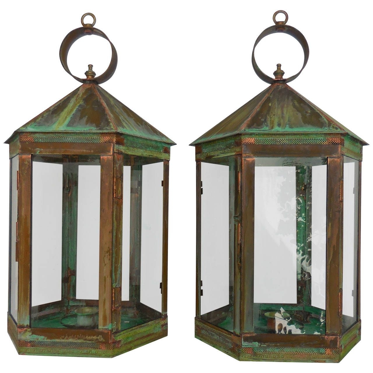 Popular Elegant Pair Of Copper Garden Candle Lanterns (Gallery 17 of 20)