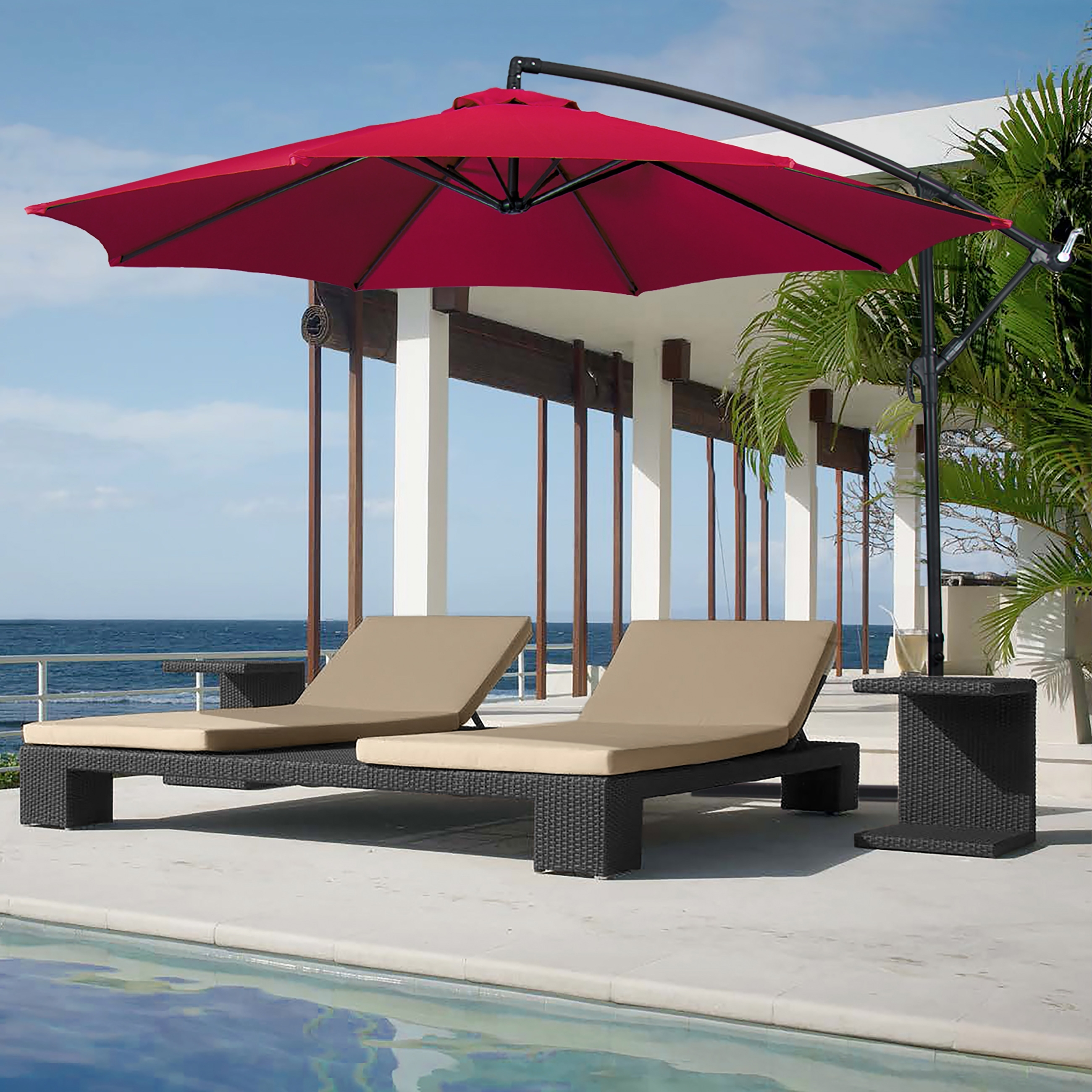 Popular Enjoy In The Shade Of Patio Umbrella Throughout The Day Within Hanging Patio Umbrellas (View 14 of 20)
