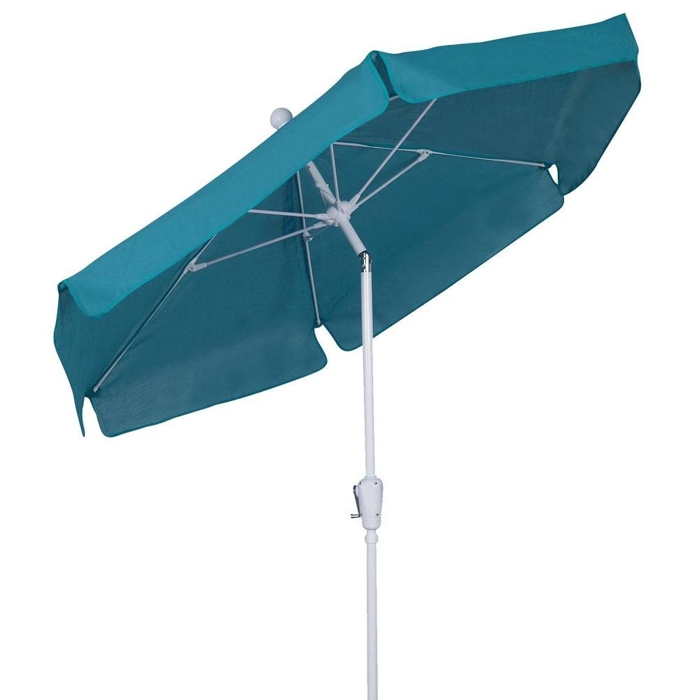 Popular Fiberbuilt Umbrellas 7.5 Ft. Patio Umbrella In Teal 7Gcrw T Tl – The Inside Patio Umbrellas With White Pole (Gallery 3 of 20)