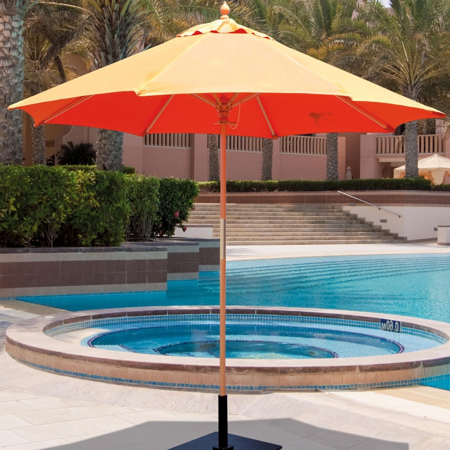 Popular Galtech 9 Ft Wood Patio Umbrella With Manual Lift – Light Wood Inside 9 Ft Patio Umbrellas (View 14 of 20)