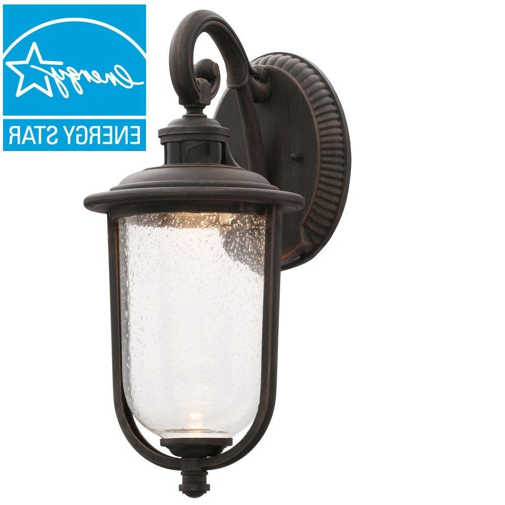 Popular Hampton Bay Perdido Rust Outdoor Led Motion Sensor Wall Mount Pertaining To Outdoor Lanterns And Sconces (View 10 of 20)