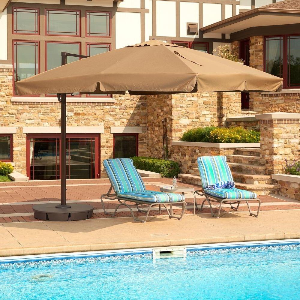 Popular Home Depot Patio Umbrellas For Sunbrella Fabric – Collar/auto Tilt – Patio Umbrellas – Patio (View 18 of 20)