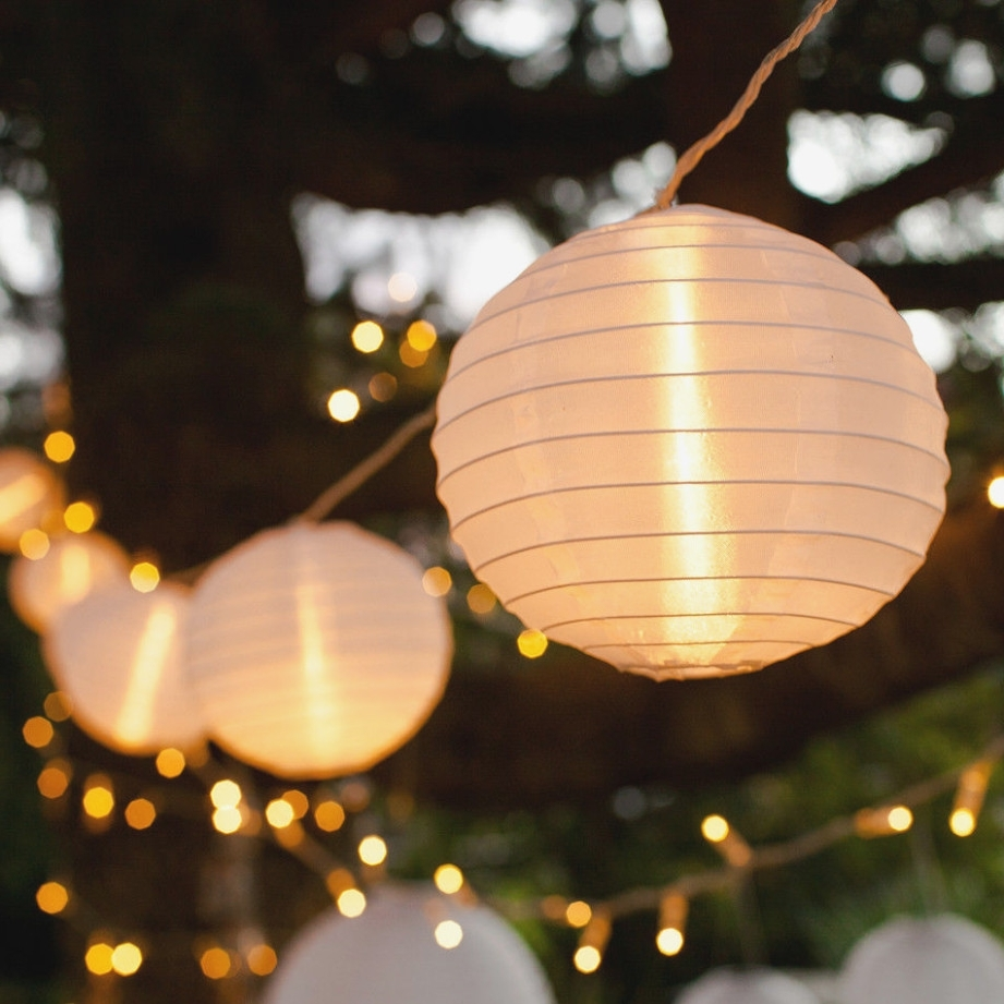 Popular Outdoor Chinese Lanterns For Patio With Regard To 40 White Chinese Lantern Connectable Indoor Outdoor Led Fairy String (Gallery 8 of 20)