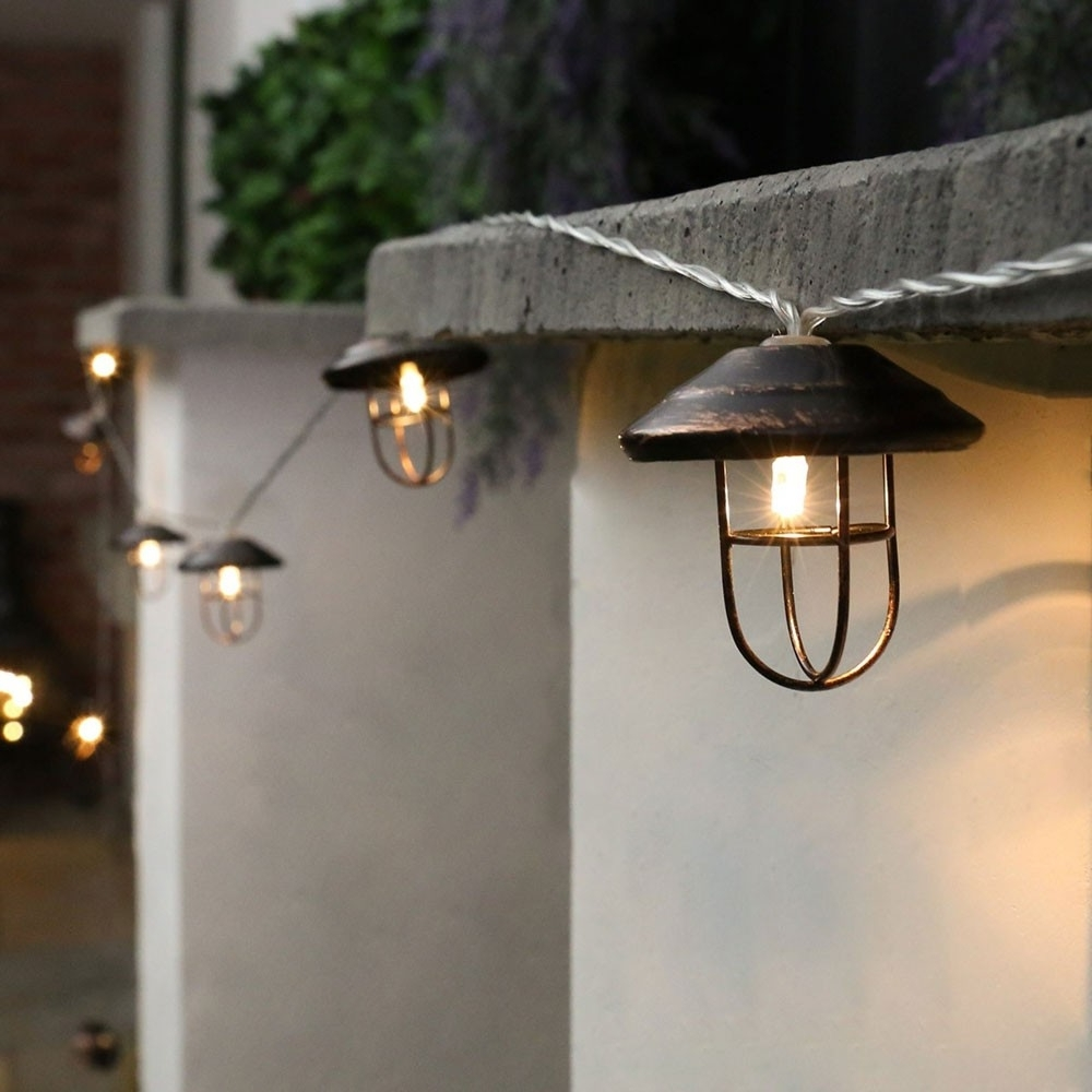 Popular Outdoor Lanterns With Battery Operated Intended For Outdoor Metal Battery Lantern Lights, 10 Warm White Led's (View 16 of 20)