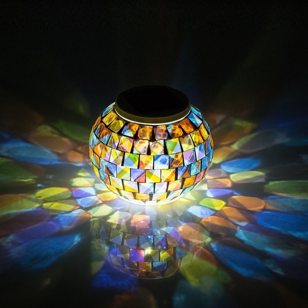 Popular Outdoor Mosaic Lanterns Pertaining To Solar Powered Mosaic Glass Ball Garden Lights, Color Changing Solar (View 15 of 20)