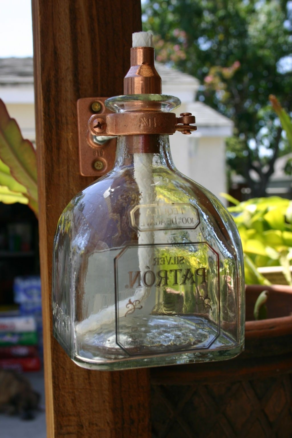 Popular Outdoor Oil Lanterns Pertaining To 2 Patron Tequila Tiki Torch / Oil Lamps Including Bottle & Hardware (View 12 of 20)