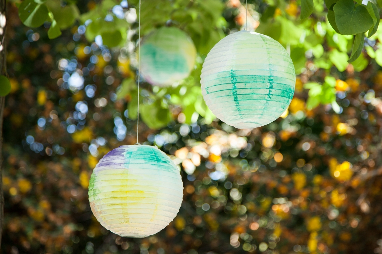 Popular Outdoor Paper Lanterns Within Watercolor Paper Lanterns (View 18 of 20)
