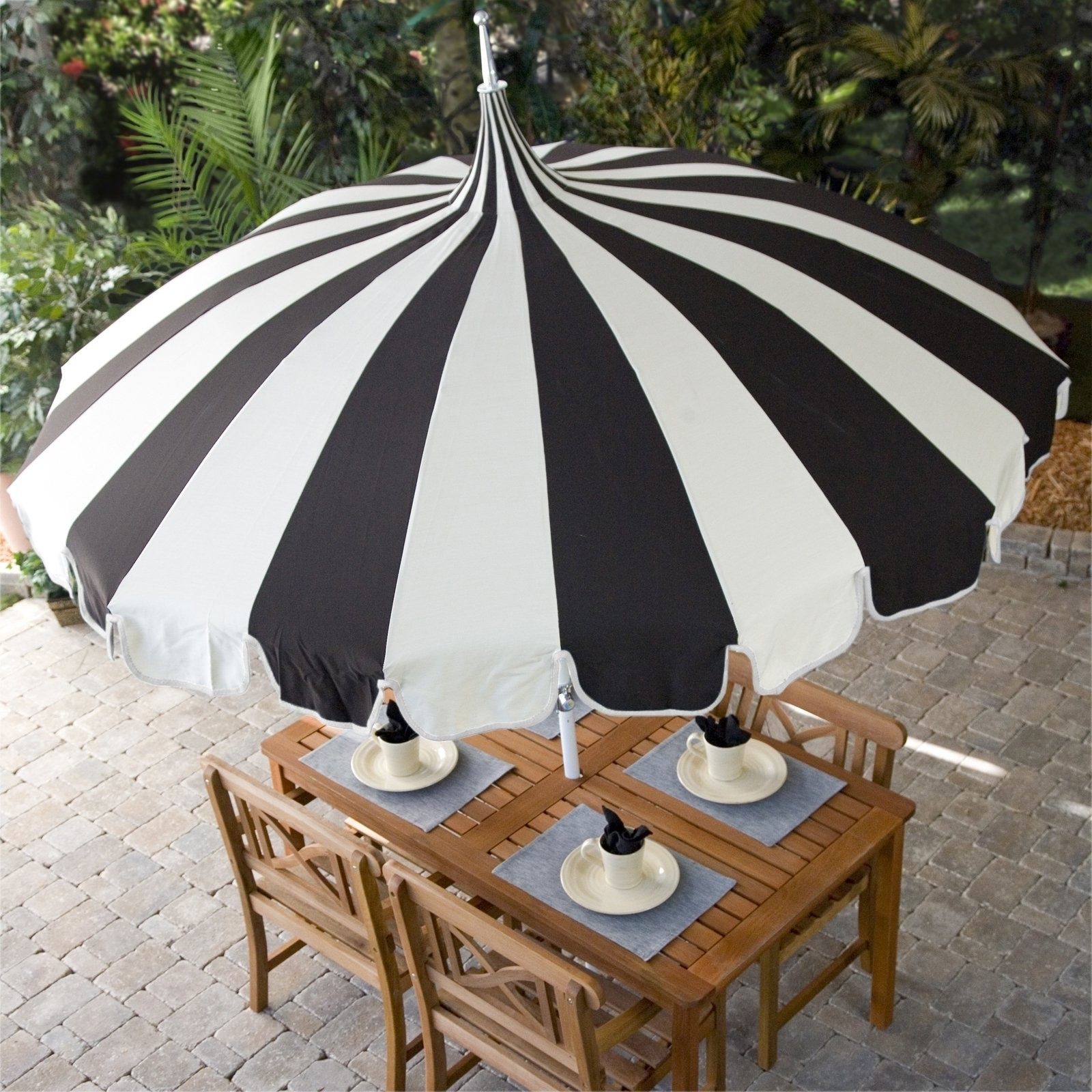 Popular Pagoda Umbrella Sea Green Designs Llc Of Striped Patio Umbrella Inside Striped Sunbrella Patio Umbrellas (View 13 of 20)