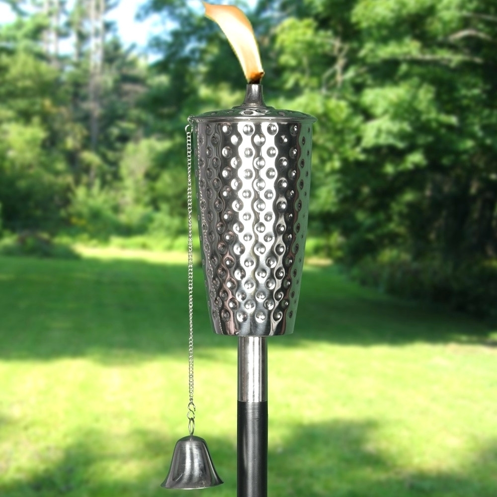 Popular Patio Ideas ~ Torch Lights For Patio Dimpled Stainless Steel Tiki With Regard To Outdoor Tiki Lanterns (View 17 of 20)