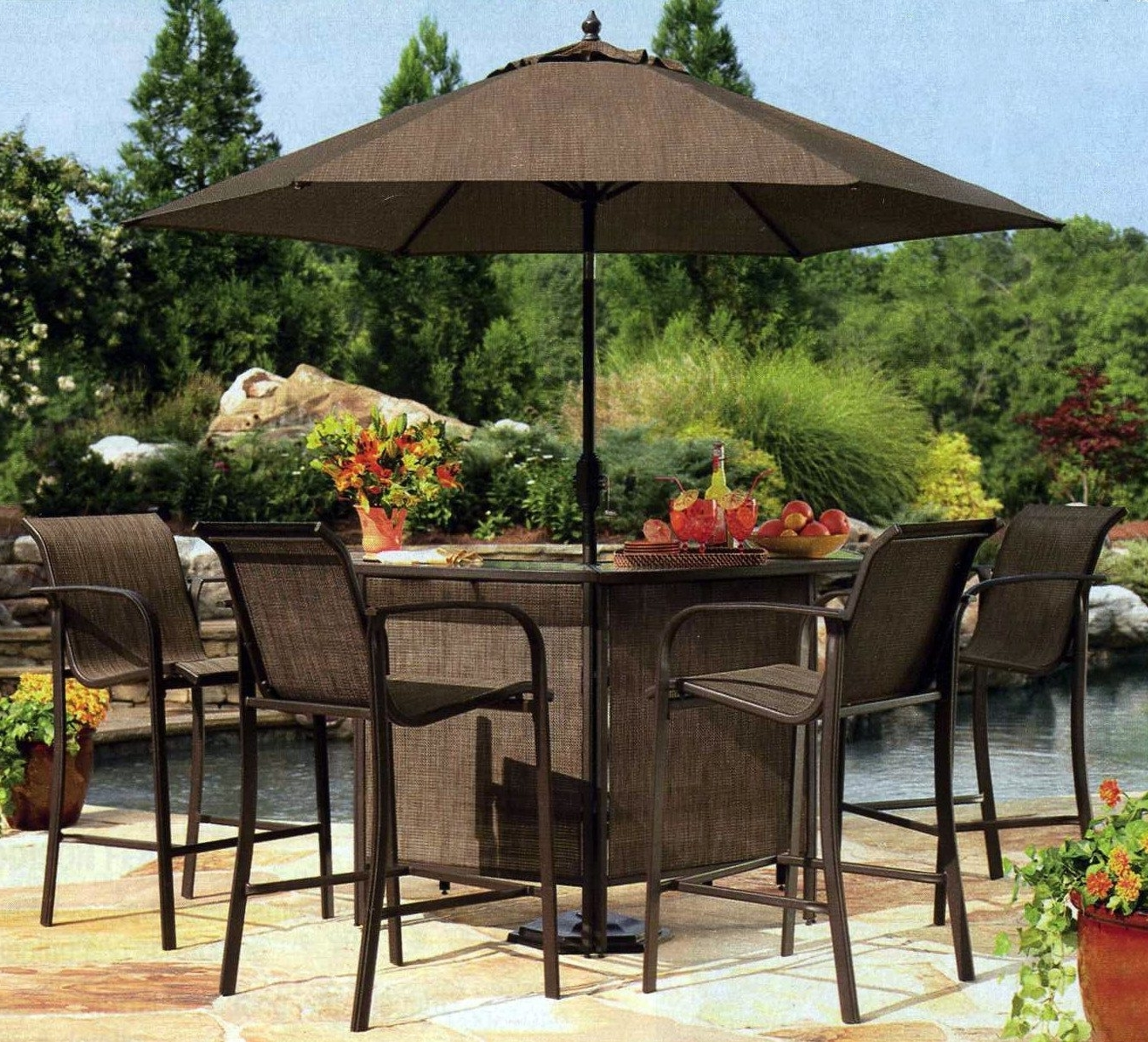 Popular Patio Umbrellas For Bar Height Tables Regarding Stylish Patio Bar Chairs Sets Bar Height Outdoor Patio Bar Table And (View 3 of 20)