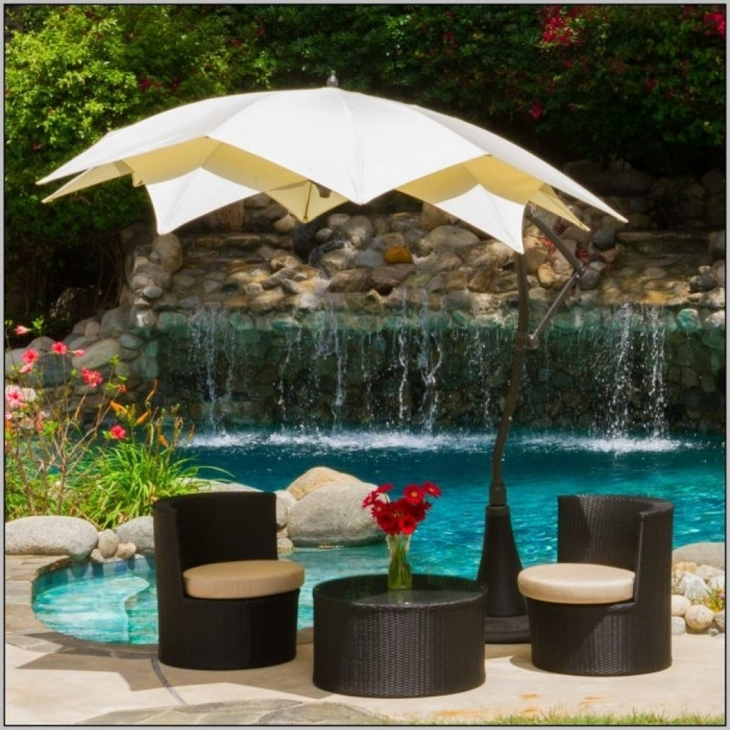 Popular Patio Umbrellas For Small Spaces Throughout Patio Umbrellas Base Walmart F14X In Rustic Home Design Trend With (View 16 of 20)