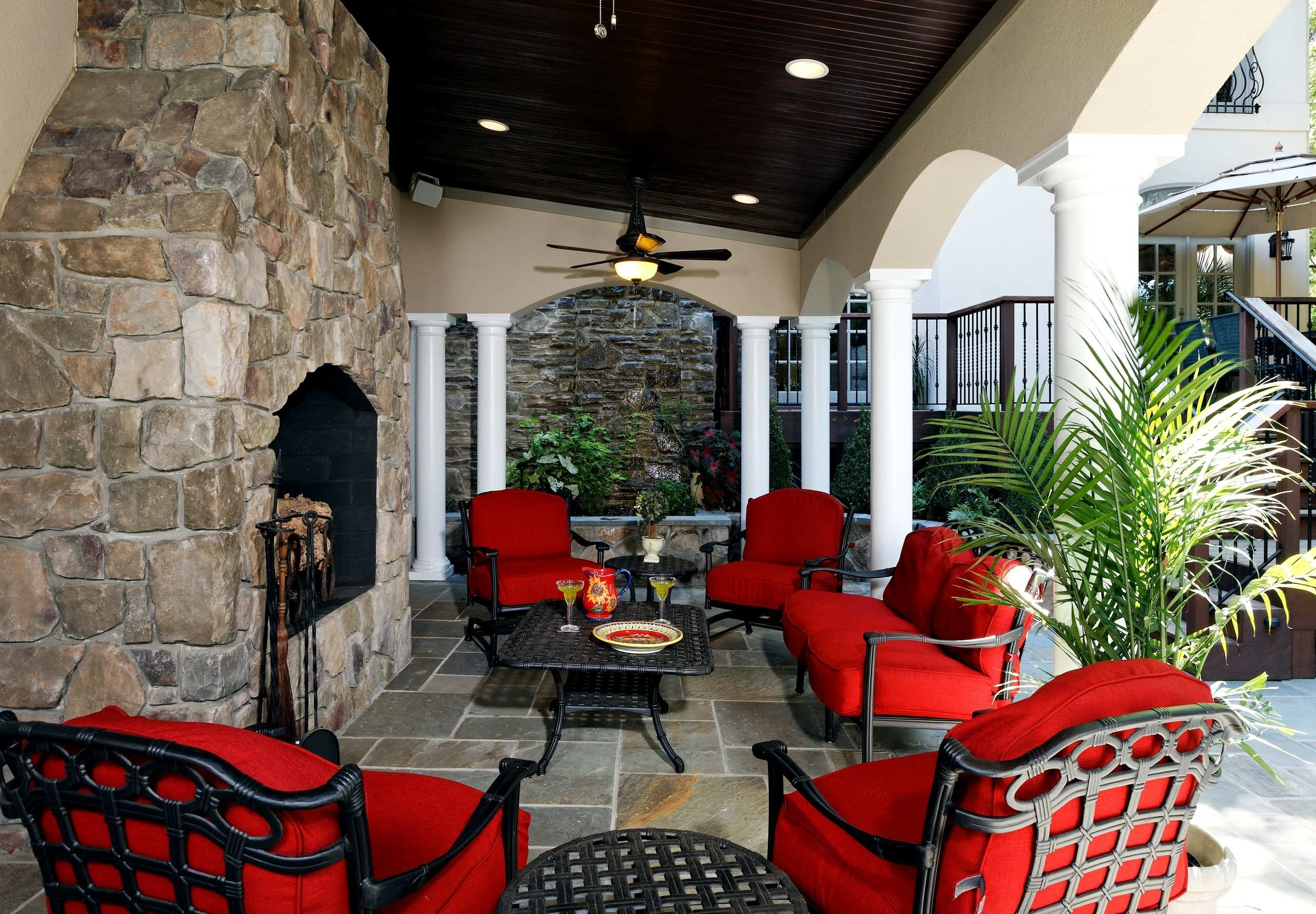 Popular Rustic Outdoor Living Room Single Rattan Bed Tree Coffee Table Throughout Red Outdoor Table Lanterns (View 8 of 20)