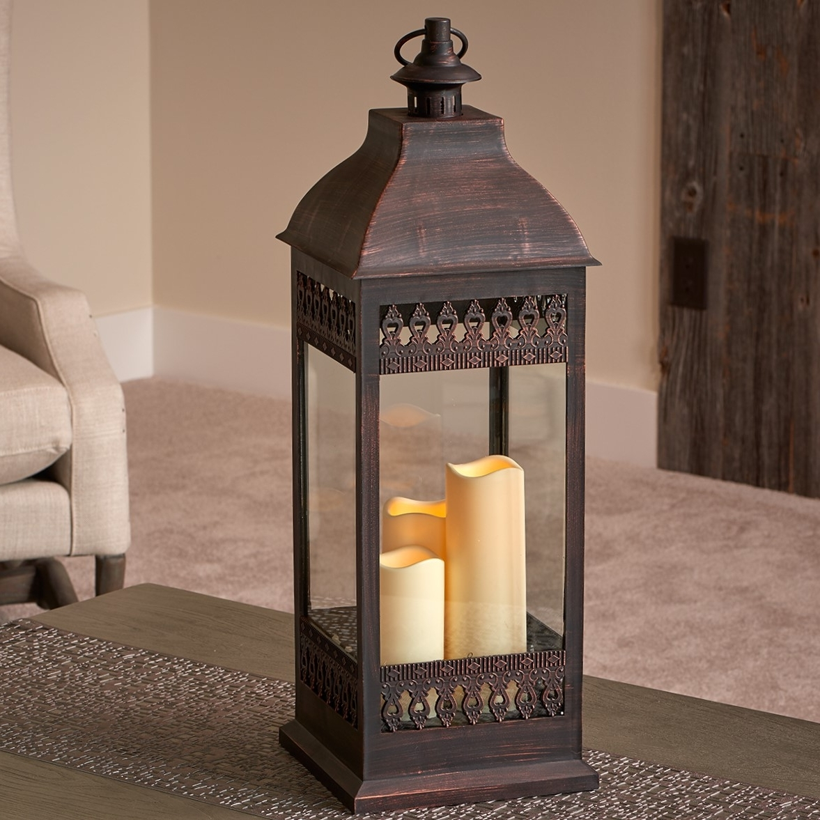 """Popular San Nicola 28"""" Triple Led Candle – Antique Bronze – Walmart With Regard To Outdoor Lanterns With Timers (View 14 of 20)"""