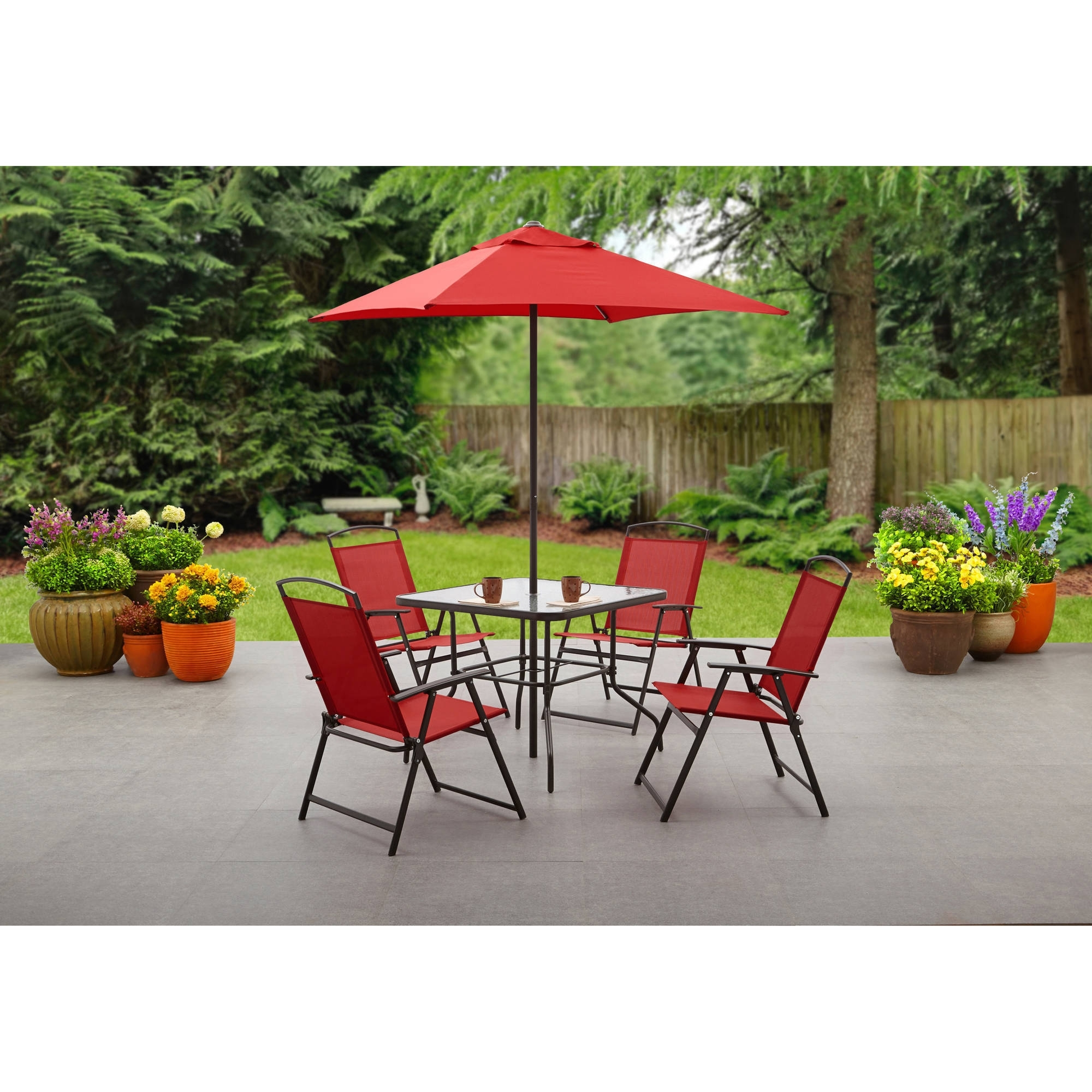 Popular Small Patio Tables With Umbrellas With Regard To Mainstays Albany Lane 6 Piece Folding Dining Set, Multiple Colors (Gallery 20 of 20)
