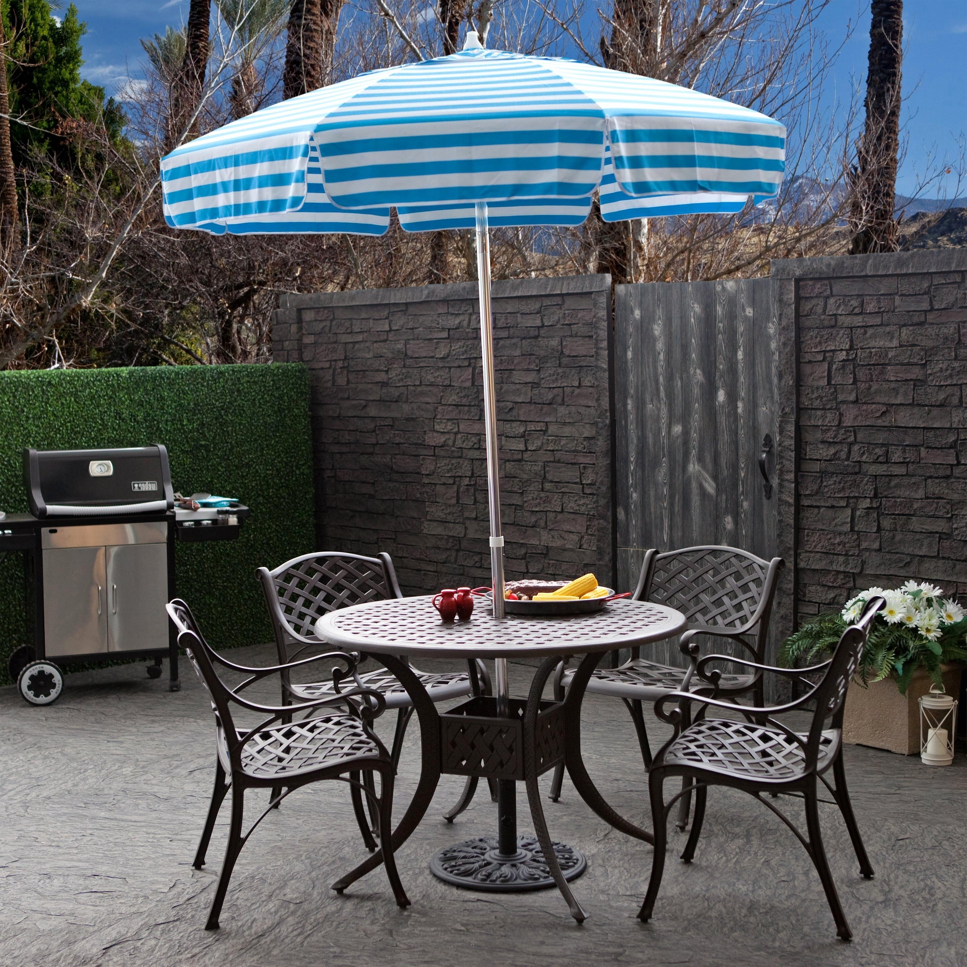 Popular Sunbrella Teak Umbrellas With Regard To Tips: Best Frontgate Umbrellas With Sunbrella Striped Patio Umbrella (View 14 of 20)