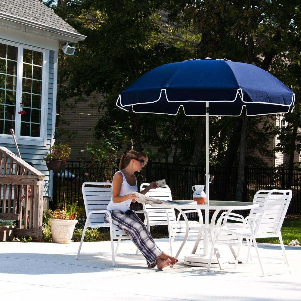 Preferred 7.5 Ft Frankford Acrylic Fiberglass Patio Umbrella With Valance With Regard To Heavy Duty Patio Umbrellas (Gallery 6 of 20)