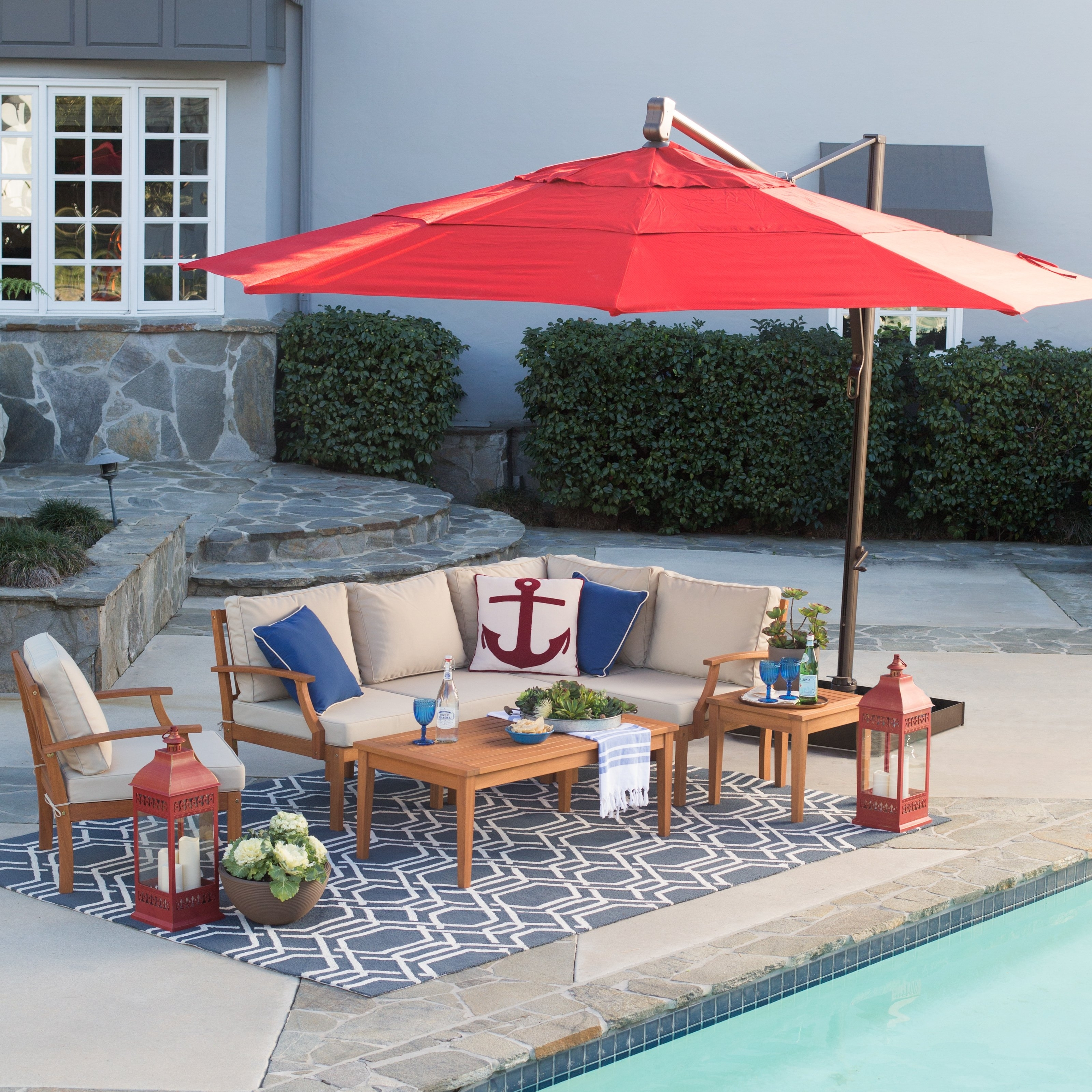 Preferred Coral Coast Offset Patio Umbrellas Pertaining To Coral Coast Square Offset Patio Umbrella Master Swing Arm Porch (View 17 of 20)